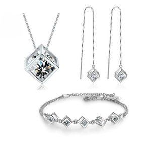 NEW [Set of 3] 925 Sterling Silver Diamond Cube